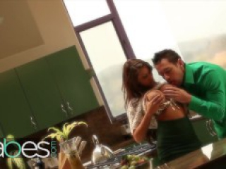 Babes - Madison Ivy gets her big tits and ass worshiped in the kitchen