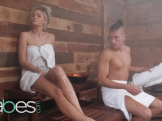 Babes- Big ass blonde pornstar Jessa Rhodes gets anal creampie in the Sauna