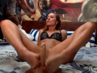 sexy girl shows her ass and feet, and give dildo footjob
