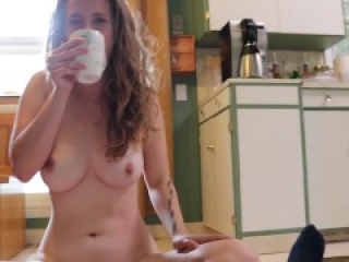 Flexible Babe Footjob and Sexy Cock Sucking at Same Time