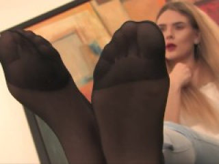 Hot Blonde Teasing Her Sexy Nylon Feet Soles
